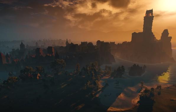 Картинка Минимализм, скриншот, Пейзаж, ведьмак, Ведьмак, Широкоформатные, The Witcher 3: Wild Hunt, Ведьмак 3 дикая охота, …