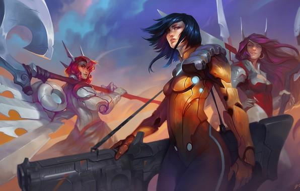 Картинка axe, gun, fantasy, girls, weapons, digital art, artwork, fantasy art, Warriors, fututristic