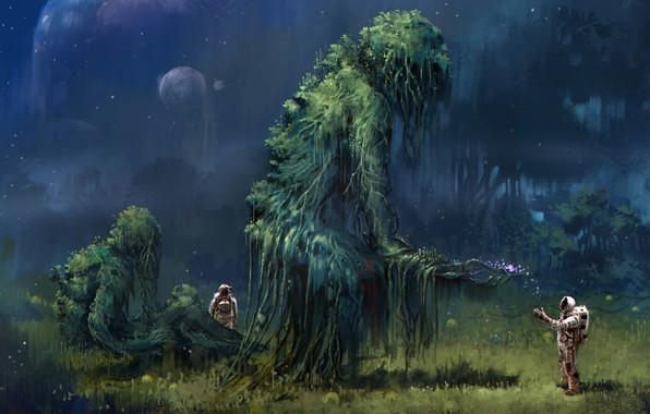 Картинка space, fantasy, trees, planet, artwork, plants, branch, fantasy art, illustration, spacesuit, creatures, Astronauts, roots