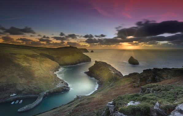 Картинка побережье, Англия, Cornwall, Boscastle Harbour