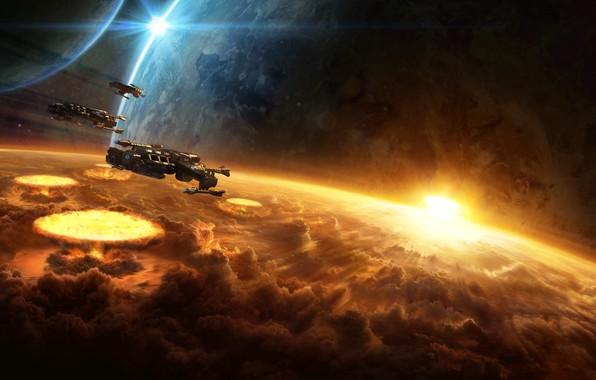 Картинка космос, взрыв, планета, разрушение, starcraft, ядерный, космический корабль, крейсер, стратегия, бомбардировка, терраны, remastered, terrans, battlecrusier