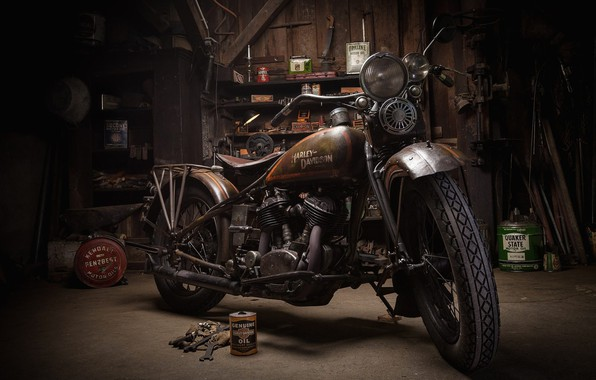 Картинка Harley-Davidson, Garage, Motorcycle