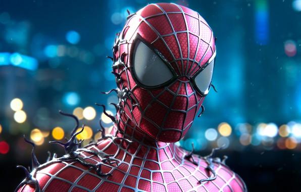 Картинка блики, фон, арт, костюм, комикс, боке, Человек-паук, fan art, MARVEL, Spider-Man