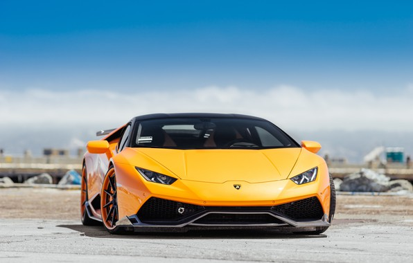 Картинка Lamborghini, Orange, Italy, VAG, Sight, Fronte, Hyuracan