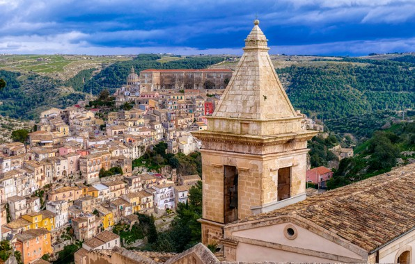 Картинка здания, башня, дома, Италия, панорама, Italy, Sicily, Сицилия, Ragusa, Рагуза