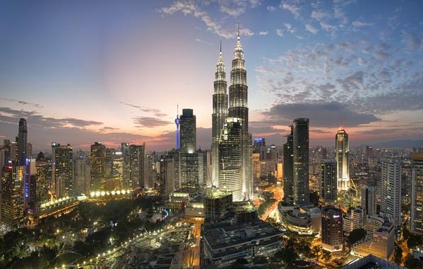 Картинка ночь, город, Малайзия, Куала Лумпур