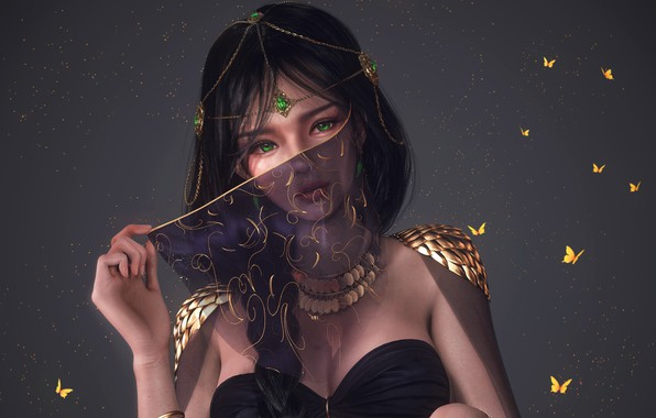 Картинка girl, fantasy, green eyes, butterfly, digital art, artwork, concept art, princess, fantasy art, necklace, jewelry, …
