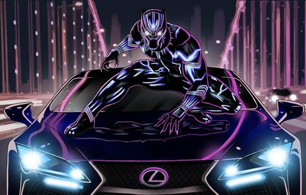 Картинка lexus, neon, artwork, black panther