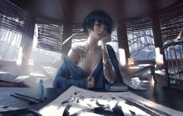 Картинка girl, fantasy, mood, tattoo, brunette, asian, digital art, artwork, table, fantasy art, drawing, fantasy girl, …