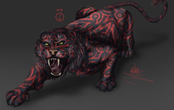 Картинка тигр, страх, хищник, пасть, когти, клыки, оскал, саблезубый, в темноте