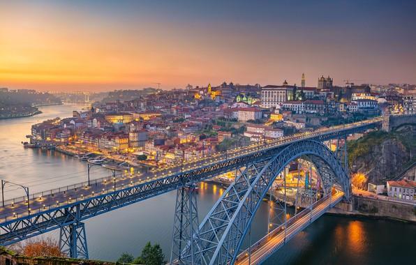 Картинка мост, река, рассвет, панорама, Португалия, Portugal, Vila Nova de Gaia, Porto, Порту, река Дуэро, Вила-Нова-ди-Гая, ...