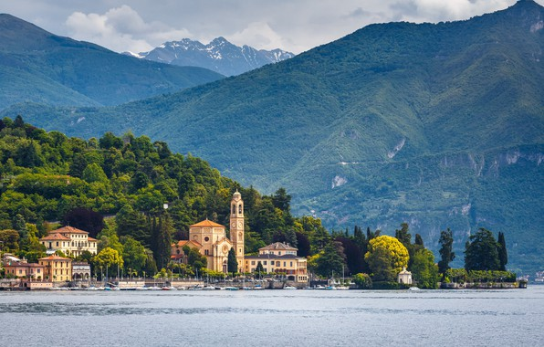 Картинка вода, озеро, гора, Италия, Комо