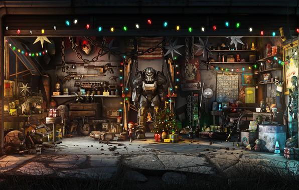 Картинка Игра, Рождество, Новый год, Оружие, Украшения, Гараж, Праздник, Fallout, Арт, Christmas, Art, Ёлка, Игрушки, Bethesda, …