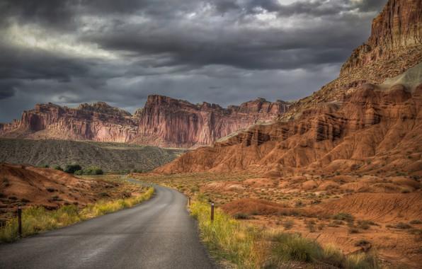 Картинка дорога, пейзаж, природа, скалы, красота