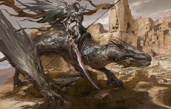 Картинка дракон, рыцарь, Russell Dongjun Lu, Desert Dragon Knight