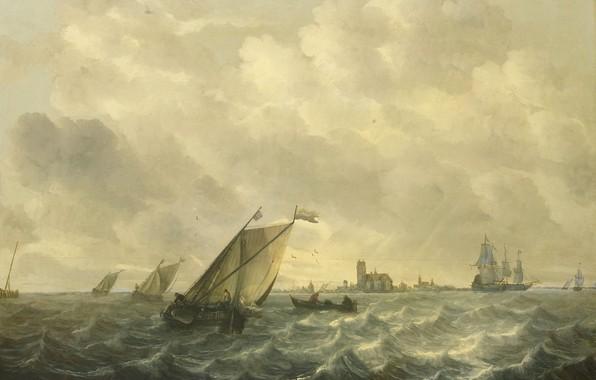 Картинка корабль, масло, картина, парус, морской пейзаж, Вид Реки, 1670, Абрахам ван Бейерен, Abraham van Beyeren