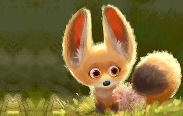 Картинка арт, лисичка, друзья, ёжик, детская, Lynn Chen, Cuddle