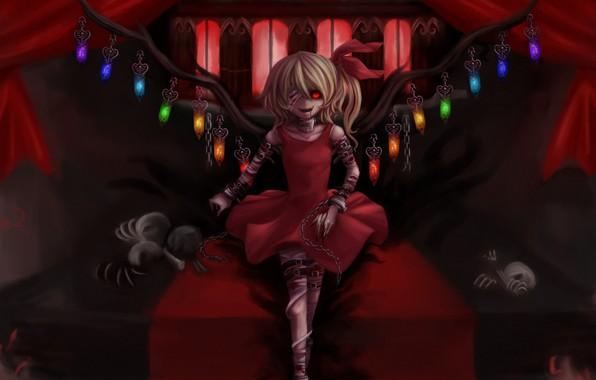 Картинка цепь, кости, голод, красный глаз, бинты, раны, повязка на глаз, в темноте, вампирша, кровь на …