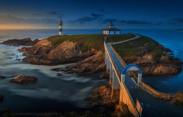 Картинка море, мост, маяк, остров