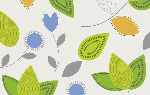 Картинка белый, листья, цветы, фон, текстура, pattern, leaves, flovers