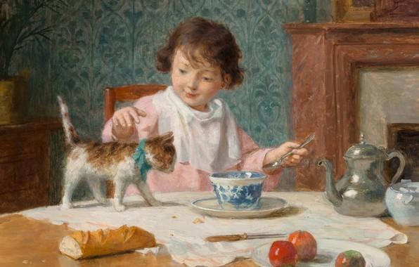 Картинка французский живописец, French painter, Victor Gabriel Gilbert, oil on canvas, Девочка с кошкой, Виктор Габриэль …