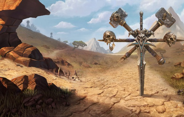 Картинка sword, World of Warcraft, game, desert, skulls, mountains, weapons, digital art, artwork, fantasy art, Blizzard …