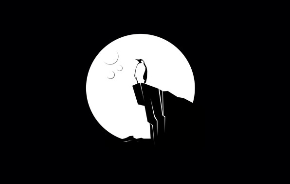 Картинка moon, minimalism, digital art, artwork, black background, cliff, simple background, shilouette, Penguin
