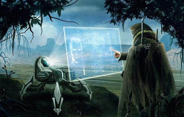 Картинка горы, будущее, человек, робот, данные, долина, future, robot, экран, mountains, screen, valley, проекция, human, стая …