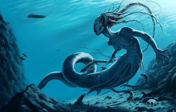 Картинка прозрачная вода, лодка, череп, медуза, skull, под водой, underwater, boat, мифическое существо, fantasy art, jellyfish, …