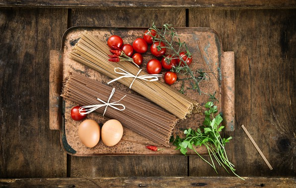 Картинка зелень, стол, яйца, доска, перец, помидоры, макароны
