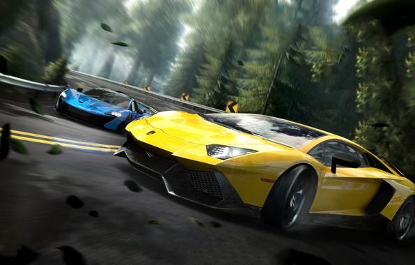 Картинка гонка, скорость, Lamborghini, NFS, Aventador, Electronic Arts, Need For Speed, McLaren P1, Need For Speed …