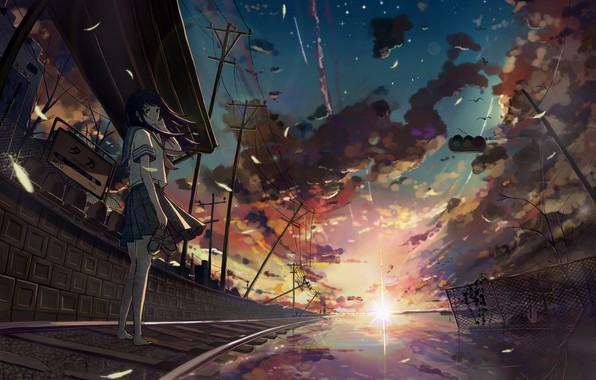 Картинка закат, столбы, провода, рельсы, станция, босиком, лучи солнца, отражение в воде, небо в облаках, дорога …