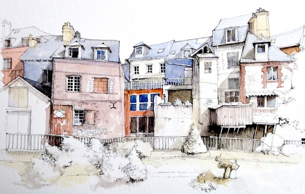 Картинка рисунок, Франция, акварель, городской пейзаж, Онфлёр