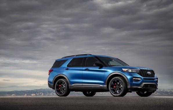 Картинка облака, синий, Машина, диски, Ford Explorer ST