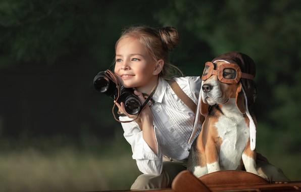 Картинка собака, девочка, авиатор, Анастасия Бусова