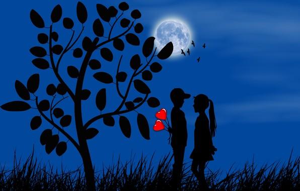 Картинка луна, романтика, мальчик, девочка, сердечки, силуэты, свидание, первая любовь