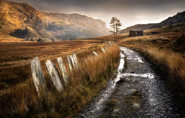 Картинка дорога, горы, руины