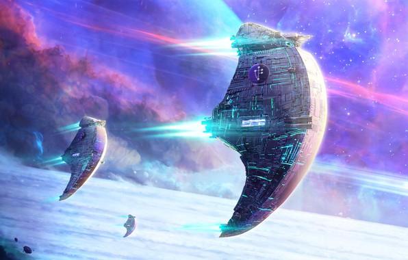 Картинка space, fantasy, science fiction, stars, sci-fi, planet, digital art, artwork, fantasy art, futuristic, Spaceships, Yuliya …