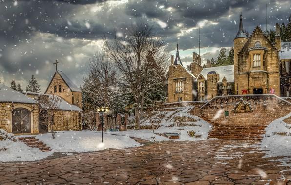 Картинка зима, снег, Япония, Japan, Takayama, Lockheart Castle, Замок Локхарт, Такаяма, шотландский замок