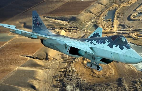Картинка малозаметный, ВКС России, истребитель пятого поколения, Су-57, ОКБ имени П. О. Сухого, перспективный российский многофункциональный