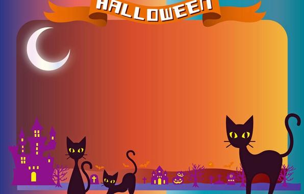 Картинка кошки, Хэллоуин, рендер, открытка, 31 октября
