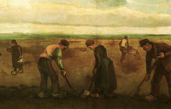 Картинка Винсент ван Гог, Potatoes, Farmers Planting