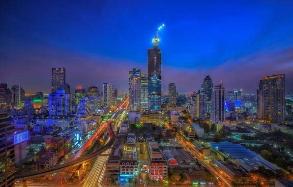 Картинка город, сумрак, утро, Тайланд, Бангкок