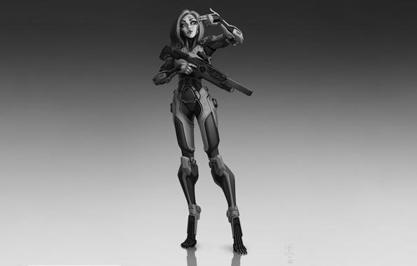 Картинка Girl, Gun, Art, Robot, Cyborg, Characters, Sci-fi, Ivan Yakushev