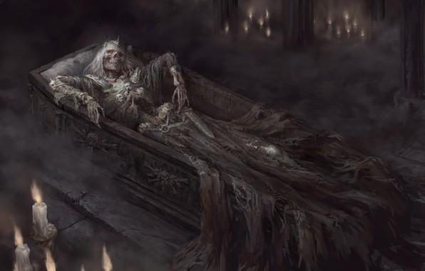 Картинка dark, sword, fantasy, crown, grave, artwork, candles, warrior, fantasy art, king, Skeleton