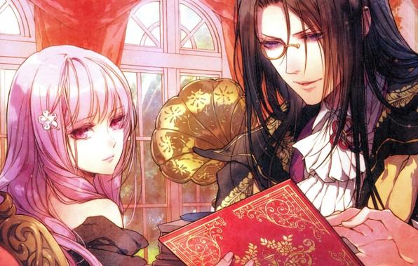 Картинка длинные волосы, грамофон, у окна, розовые волосы, королева цветов, монокль, visual novel, hubert, reine des …