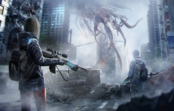 Картинка девушка, оружие, фантастика, дома, существо, арт, парень, рюкзак, art, высотки, sci-fi, инопланетяне