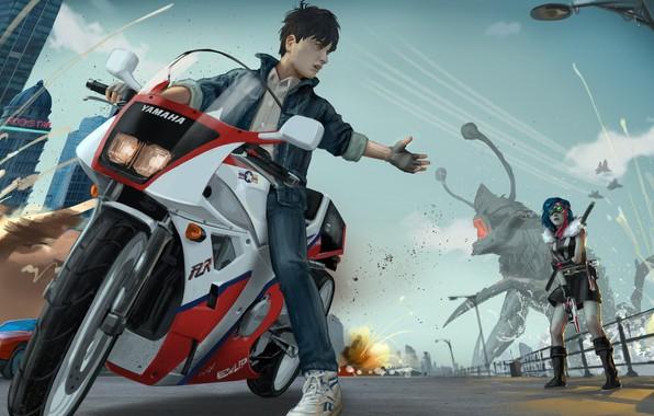 Картинка девушка, улица, монстр, мотоцикл, парень