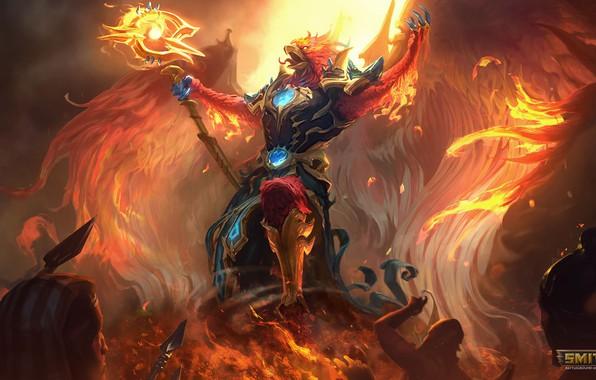 Картинка огонь, крылья, Арт, Бог, Phoenix, smite