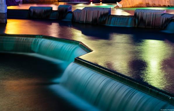 Картинка вода, свет, ночь, водопад, париж, paris, water, night, waterfall, Disneyland